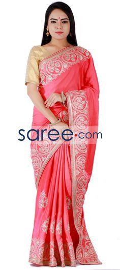 Pink Muga Silk Saree with Embroidery Work By Asopalav  #Saree #GeorgetteSarees #IndianSaree #Sarees  #SilkSarees #PartywearSarees #RegularwearSarees #officeWearSarees #WeddingSarees #BuyOnline #OnlieSarees #NetSarees #ChiffonSarees #DesignerSarees #SareeFashion