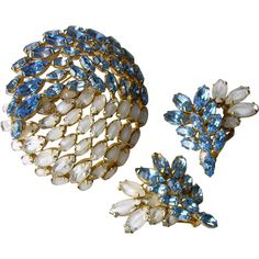 Perfect 'Yin Yang' White Givré & Electric Blue Crystal Brooch & Earrings Set