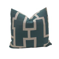 Free US Shipping-Decorative Designer Pillow Covers-Maze In Teal -18 inch. $35.00, via Etsy.