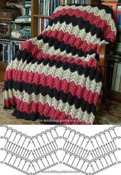 Free V-Stitch Crochet Ripple Afghan Pattern Crochet Diagram, Crochet Chart, Knit Or Crochet, Free Crochet, Zig Zag Crochet, Crochet Flower, Double Crochet, Free Knitting, Baby Knitting