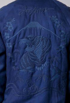 【BLUE BLUE JAPAN】インディゴリヨセル サクラフジニトラ スカジャン