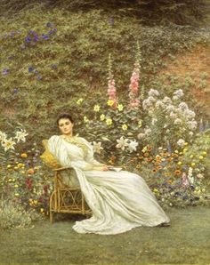 Helen Allingham (1848-1926)  Reading in the Garden