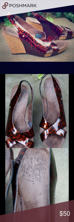 """UGG cheetah patent leather slingback cork wedges Cute pair of UGG Australia cheetah patent leather slingback peep toe cork wedge shoes women's 7. Nice condition! Heel measures 4"""". UGG Shoes Wedges"""