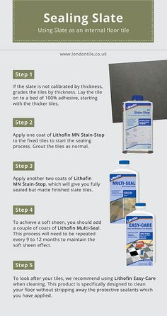 Slate makes a gorgeous internal floor tile, but needs to be properly sealed. Check out our 'how to' guide to sealing slate. Slate Tiles, Slate Flooring, Red Kitchen, Kitchen Stuff, Cleaning Slate Floors, Entry Paint Colors, Ceramic Tile Crafts, Tile Floor Diy, Slate Stone