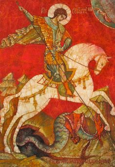 Icon Painting - St George II by Tanya Ilyakhova Byzantine Icons, Byzantine Art, Saint George And The Dragon, Dragon Icon, Medieval Paintings, Hippie Painting, Alice And Wonderland Quotes, Jesus Art, Orthodox Icons