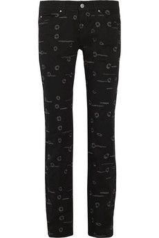 Isabel Marant Oswin embroidered mid-rise skinny jeans | THE OUTNET