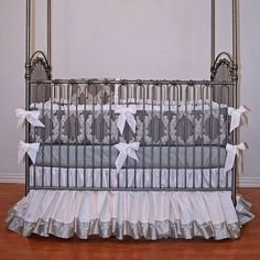"""Simply Silver Baby Bedding.  There is nothing """"simple"""" at all about this stunning set."""