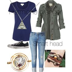 A fashion look from June 2013 featuring tee-shirt, lightweight jackets and cropped jeans. Browse and shop related looks. Harry Potter Style, Harry Potter Outfits, Hermione Granger, Fandom Fashion, Nerd Fashion, Punk Fashion, Lolita Fashion, Harry Potter Kleidung, Gilmore Girls Fashion