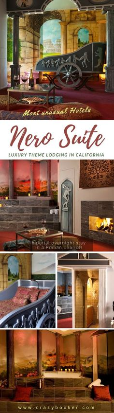 Nero Suite with Roman chariot in a themed hotel room in California | Stay like Roman emperor Nero in burning Rome and spend the night in a converted chariot bed! Toast the sinking city with a bottle of wine while sitting by the open fire! Or enjoy your imperial spa with columns in front of...