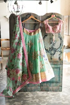 Buy Indian women clothing online of Anushree Reddy replica in green floral lehenga choli Saris, Indian Attire, Indian Wear, Indian India, Indian Style, Ethnic Style, Indian Dresses, Indian Outfits, Fun Look