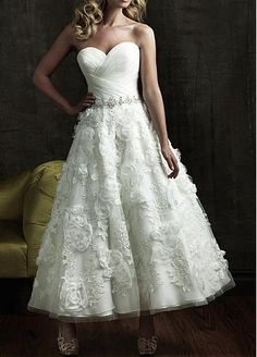 2012 Allure Bridal - White & Silver Pleated Organza & Tulle Rose Tea Length Wedding Gown - 2 to 32 - Unique Vintage - Cocktail, Pinup, Holiday & Prom Dresses. Ankle Length Wedding Dress, Lace Wedding Dress, Bridal Wedding Dresses, Wedding Dress Styles, Bridesmaid Dresses, Wedding Bride, Prom Dresses, Bridal Style, Evening Dresses