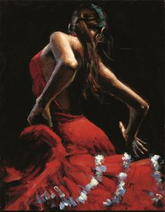 Dancer in Red With White by Fabian PEREZ Limited Edition Print