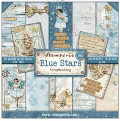 Stamperia Paper Pad 8x8 - Blue Star 22 sheets