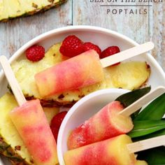 Sex on the Beach Poptails - Popsicles with booze! Lussier This is our new workday goal--to take the place of the strawberry-peach vodka popsicles! Beach Cocktails, Summer Drinks, Frozen Cocktails, Fun Drinks, Frozen Desserts, Frozen Treats, Great Recipes, Favorite Recipes, Amazing Recipes