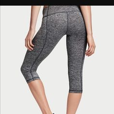 NWOT VSX knockout pants/ tights These are new without tags VSX knockout Capri tights. Gray with neon pink mesh detail. Comfortable fit and will be great for a workout and casual day activities. Size is large. Price is firm. Free shipping. Victoria's Secret Pants Leggings