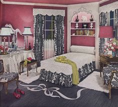 """The modern '40s bedroom was happy and inviting."" --- via article on ""1940s Decorating Style"" at RetroPlanet.com. --- Lots of soft, ever so slightly Victorian touches to this room, including some Colonial / Early American / French Provincial elements in the furniture designs. What a charming room!"