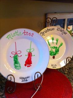 DIY Christmas decor plates made by kids...great gift for grandma!! I want to do this with joey next christmas and every year after that. or a hand print.