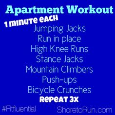 Circuit Workout for anywhere. Workout for home, apartment. Quick efficient and #fitfluential workout.  Find more fitness at ShoretoRun.com