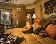 tuscan style bedroom decorating ideas - Internal Home Design Tuscan Style Bedrooms, Tuscan Style Homes, Tuscan House, Tuscan Garden, Tuscan Bedroom Decor, Home Design, Tuscan Furniture, World Decor, Tuscan Decorating