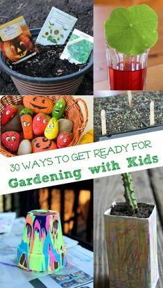 started with these 30 kid-friendly & frugal garden activities -- garden crafts early planting ideas & garden science the kids can do before Spring! Garden Crafts For Kids, Garden Projects, Projects For Kids, Garden Fun, Kids Crafts, Gardens For Kids, Garden Beds, Summer Crafts, Indoor Garden