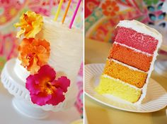tarta de colores y flores hawaianas boda surfera en la playa decoración surf decoration beach wedding marriage tiaré hibiscus leis aloha hawaii miraquechulo