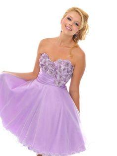 Junior A-line Sweetheart Short / Mini Organza Appliques Purple Homecoming Dresses $149.99 - Trendsget.com