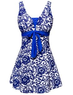 Women's Plus Size Swimdress Blue and White