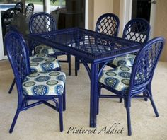 Craigslist Patio set - after a few cans of Rustoleum Navy Blue spray paint, also used Thompsons Water Seal on the fabric!
