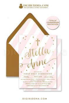 Elegant pink and gold glitter communion party invitation with blush pink stripes and gold glitter lettering and gold confetti details. Choose from ready made printed invitations with envelopes or printable communion party invitations. Gold shimmer envelopes and matching envelope liners also available. digibuddha.com