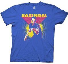 Big Bang Theory Bazinga Sheldon Cooper Men's Royal Blue Tee. I don't even care that it's a men's shirt!!!