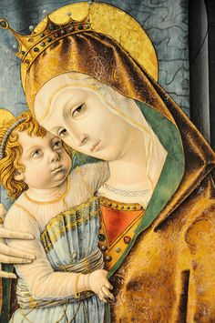 Detail, 'Madonna and Child with Saints' by Venetian Renaissance painter Carlo Crivelli Collection: Walters Art Gallery Baltimore, MD. via marinni on live journal Lady Madonna, Madonna And Child, Italian Painters, Italian Artist, Italian Renaissance, Renaissance Art, Catholic Art, Religious Art, Art Chinois