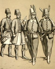 From left: paiuk's (Courty Garde) in 1680, according to Peter von Bloemen and Viviani, King's Janissaries according to le Blond engravings 1676. Fig. B. Gembarzewski.