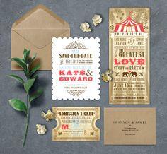 CIRCUS CARNIVAL Wedding Invitation Suite TICKET RSVP. $45 PDF Download - OR - CUSTOM High quality printing available via ETSY.COM/SHOP/NIMBISHOP  NIMBI CREATIVE - PORTLAND, OR WWW.NIMBIDESIGN.COM