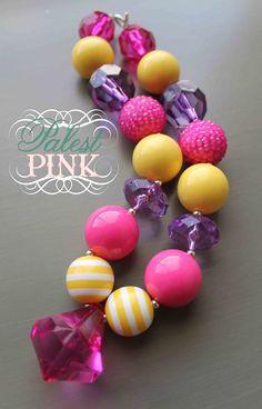 Pink Bubblegum little girls chunky necklace