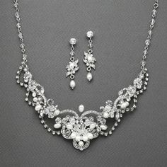 Freshwater Pearl & Crystal Wedding Necklace and Earrings Set - Marry Me Wedding Accessories & Gifts - 1