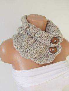 Items similar to Stone Hand Knitted Cowl Scarf With Wooden  Buttons-Neckwarmer Winter Accessories f63cdd4be41c