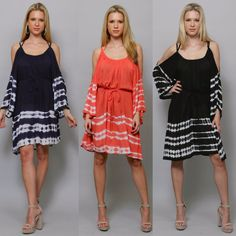 Boho Tie Dye Cold Shoulder Bell Sleeve Tunic Dress or Top Navy Black Coral S-1X! #WeekendinVegas #ColdshouldertunicdressBeachDressTunic #SummerBeach