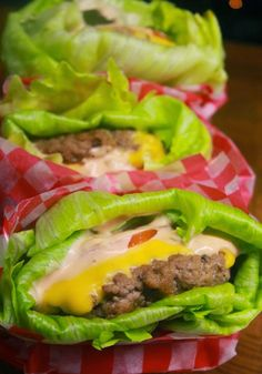Low Carb Lettuce Wrapped Burgers... I guess instead of ground beef you could do ground turkey or tofu, but me myself - if I gotta eat a burger with no buns...you better bet it will be ground beef!