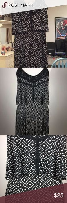 URBAN OUTFITTERS ECOTE EUC Large Black White Dress URBAN OUTFITTERS ECOTE EUC Large Black White Drape Top Layered Sleeveless Beach Dress  Description URBAN Outfitters Dress ECOTE  Black and White Geometric Pattern See through Lace on Neckline in back, lace backed by material in front Popover Top Material  Lightweight V-Neckline in back and front Above Knee-Length Spaghetti Straps Sleeveless Women's Size Medium L Excellent Used Condition Ecote Dresses Mini