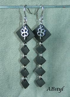 boucles d'oreilles chambre à air recyclée carré / Upcycling / bijoux vegan / éco bijoux : Boucles d'oreille par abstyl