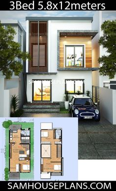 House Plans Idea with 3 Bedrooms - Sam House Plans 3 Storey House Design, Simple House Design, Bungalow House Design, House Front Design, Minimalist House Design, Narrow House Designs, Narrow House Plans, Tiny House Plans, House Layout Plans