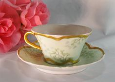 Antique H & C France Limoges Delicate Pink And Green Vintage Teacup and Saucer…
