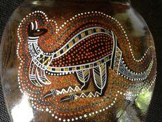 Australian Timber Vase  Aboriginal by TradewindsFolkArt on Etsy, $40.00