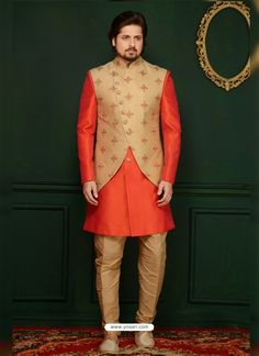 Orange banarasi Silk men's sherwani style paired with a matching art silk bottom. Mens Wedding Wear Indian, Wedding Dresses Men Indian, Wedding Dress Men, Indian Bride And Groom, Kurta Pajama Men, Kurta Men, Mens Sherwani, Wedding Sherwani, Indian Men Fashion