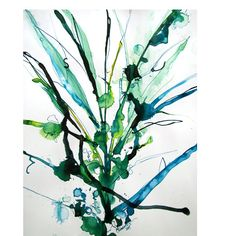 abstract organic blue  form /flower   in colored ink on paper