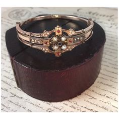 Fine Antique Victorian Bracelet in Box, Seed Pearls, Ruby, Gold, Hinged Bangle Bracelets, Bangles, Victorian Gold, Antique Jewelry, Gems, Wedding Rings, Engagement Rings, Jewels, Jewellery