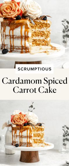 Cardamom Spiced Carrot Cake with Ginger Frosting - Broma Bakery Carrot Cake Frosting, Carrot Spice Cake, Broma Bakery, Cupcake Cakes, Cupcakes, Delicious Deserts, Desert Recipes, Fall Recipes, Pastries