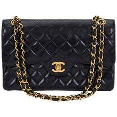 "Chanel Double Flap Classic Black 10"" Bag"