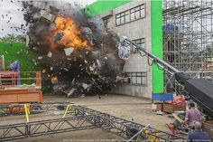 Set Explosion at Pinewood Studios for Spectre(2015)