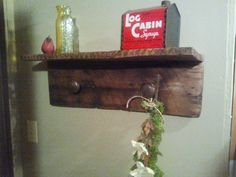 Reclaimed Barn Wood Shelf with Antique Brass Knobs / Repurposed Barn Wood Coat Rack / Antique Brass Knob Coat Rack with Shelf / Coat Rack on Etsy, £37.29